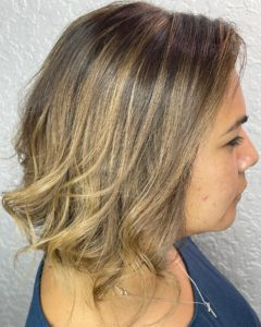 accent foilyage highlights on brunette Benjamin Kyle Salon Cocoa FL