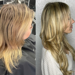 before after tape in hair extensions Cocoa FL